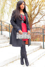 Black-paprika-boots-red-unknown-brand-dress-black-h-m-coat