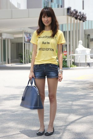 blue spring denim random shorts - navy alma leather Louis Vuitton bag