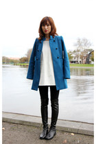 blue trench coat Zara coat - black over the knee stuart weitzman boots