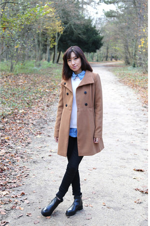 Zara coat - black boots - 7 for all mankind jeans - Witchery sweater