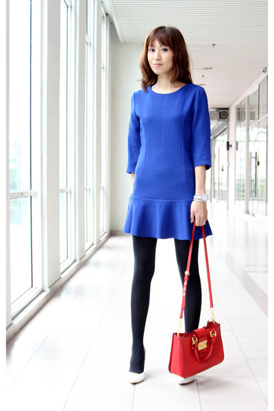 blue Mood & Closet dress - black winter leggings Uniqlo tights