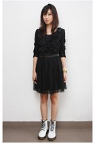 white Dr Martens boots - black Mood & Closet dress
