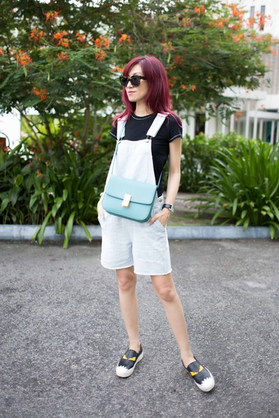 black tee Gap top - Fendi shoes - light blue leather Celine bag