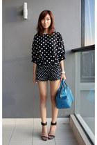black Mood & Closet shorts - teal TODs bag - black Zara heels
