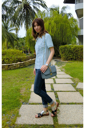 denim Guess jeans - Valentino bag - Miu Miu sandals
