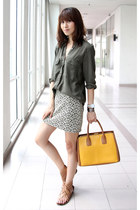 mustard Miu Miu bag - eggshell Mood & Closet skirt - army green Zara top