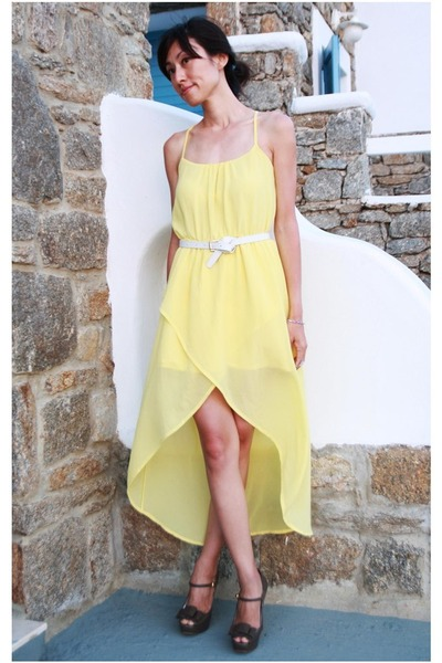 light yellow high-low Mood & Closet dress