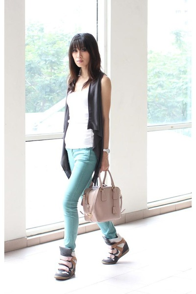 gray random vest - teal Forever 21 jeans - neutral Prada bag - white Topshop top