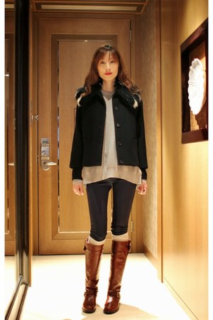 fur Miu Miu jacket - stuart weitzman boots - Zara leggings