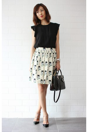 black lady dior christian dior bag - black Zara top - Miu Miu skirt