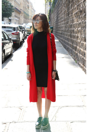 red knit Mood & Closet cardigan - Prada shoes - black dress