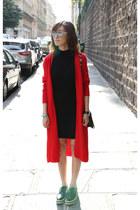 red knit Mood & Closet cardigan - Prada shoes - black dress