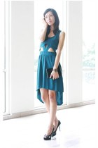 teal cut-out dress Swaychiccom dress - black Guess heels