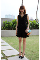 black Mood & Closet top - carrot orange Miu Miu bag - black Mood & Closet skirt