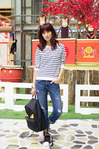 Zara sweater - navy boyfriend jeans Current Elliott jeans - black Fendi bag