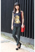 black Zara top - forest green 7 for all mankind jeans - red Miu Miu bag