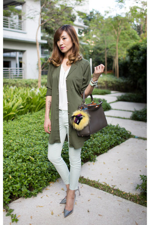 olive green shirt dress Revolve Clothing shirt - pastel J Brand jeans