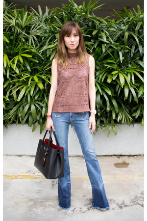 flare Tularosa jeans - black Prada bag - brown cut out Tularosa top