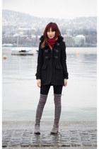 black trench coat Burberry coat - over the knee stuart weitzman boots