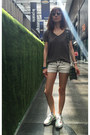 Gray-denim-shorts-christian-dior-sunglasses-army-green-silk-saba-top