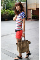 carrot orange summer denim Lucky Brand shorts - camel Celine bag