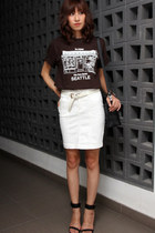 white Bebe skirt - black PROENZA SCHOULER bag - black buckle summer Zara heels