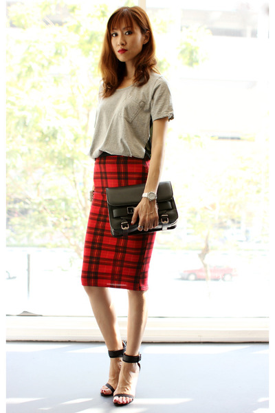 brick red asos skirt - black PROENZA SCHOULER bag