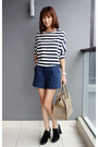 Black-tods-boots-light-brown-celine-bag-navy-zara-shorts