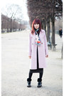 Coach-boots-gray-knit-dress-pink-oversized-asos-coat-fendi-scarf