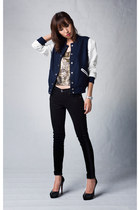 navy Mood & Closet jacket - black skinny winter 7 for all mankind jeans