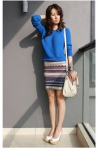 blue knitwear Forever 21 top - off white leather Michael Kors bag