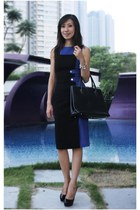 blue karen millen dress - black Furla bag - black Christian Louboutin heels