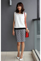 ruby red Miu Miu bag - navy banana republic skirt - white Zara top
