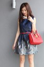 White-sismade-necklace-navy-mood-closet-dress-red-miu-miu-bag