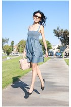 blue denim summer Mango dress - nude leather square Prada bag
