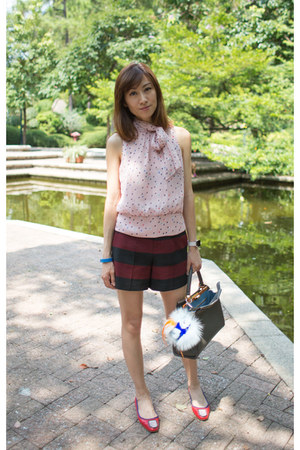 polka dots karen millen top - Fendi bag - high waisted Zara shorts