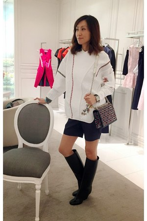 white christian dior sweater - christian dior bag - christian dior sneakers
