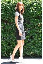 white heels shoes Zara pumps - black Versace Jeans dress