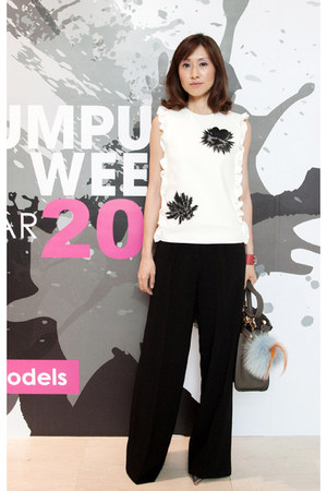 white floral print MSGM top - Fendi bag - black asos pants
