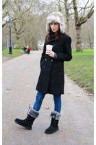 black Zara coat - dark gray Ugg boots - blue Mood & Closet jeans