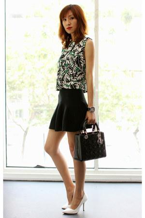 Zara top - christian dior bag - Mood & Closet skirt - white Zara pumps