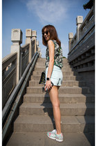 green Zara top - black christian dior sunglasses - Adidas sneakers