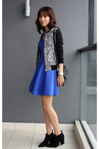blue Club Monaco dress - black Zara boots - gray Club Monaco jacket
