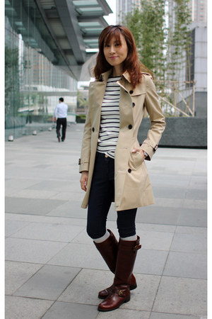 trench coat Burberry coat - stuart weitzman boots - Zara jeans - Zara top
