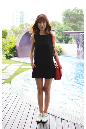 black Club Monaco romper - Miu Miu shoes - red Miu Miu bag - Hermes bracelet