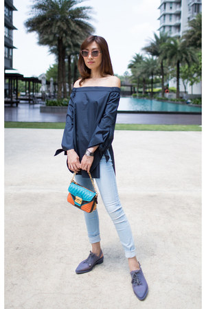navy Tibi top - brogues Melissa shoes - 7 for all mankind jeans - Miu Miu bag