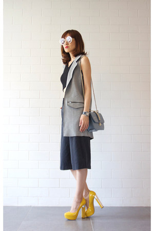 grey Topshop vest - Valentino bag - Karen Walker sunglasses - Miu Miu pumps