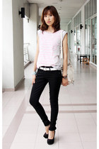 heather gray Mood & Closet top - black skinny denim 7 for all mankind jeans