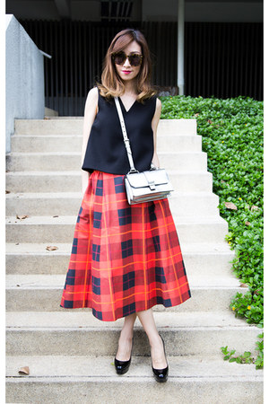 red tartan kate spade skirt - silver leather Miu Miu bag