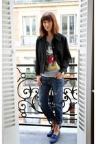 black Miu Miu jacket - navy Current Elliott jeans